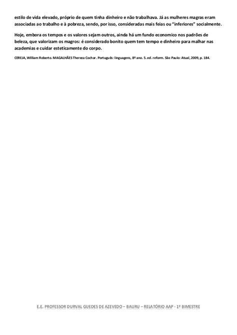 Relatório ensino fundamental 8ºano lingua portuguesa