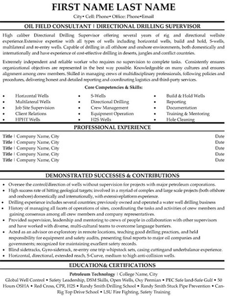 oilfield resume templates field consultant resume sle template