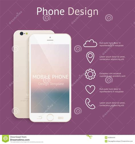 design your dream phone perspective smartphone realistic mock up on cartoon vector