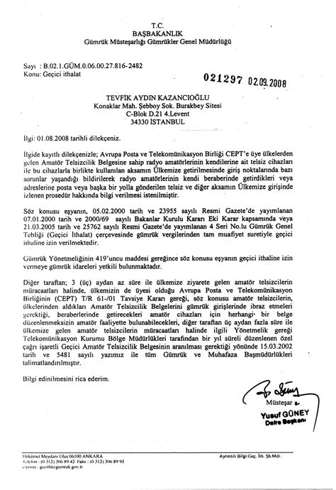 Explanation Letter Customs Tcswat Information For Foreign Radio