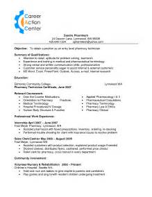 pharmacy technician resume sle berathen