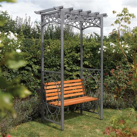 garden bench with arch wooden metal garden arbour bench seat from westmount