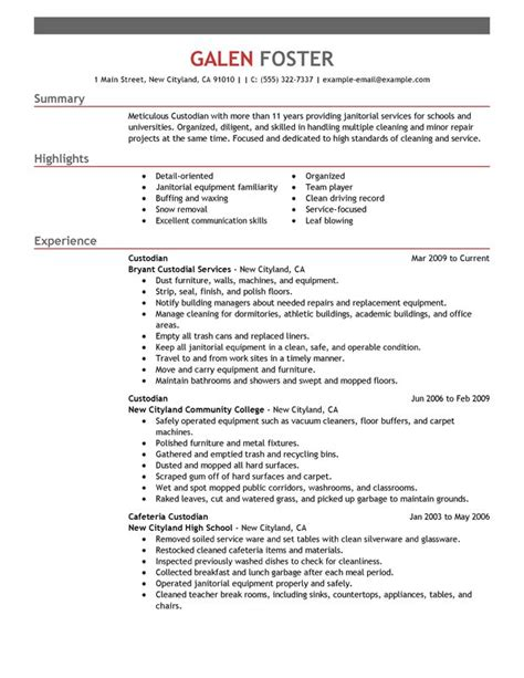 Janitorial Resume Templates by Cleaning Professionals Resume Exles Created By Pros