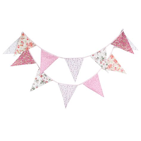 Banner Flag Baju Biru Pink Bunting Flag big size 12flags 3 7m pink flowers print cotton fabric bunting pennant flag baby birthday
