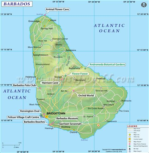 where is barbados on the world map map of barbados throughout on world roundtripticket me