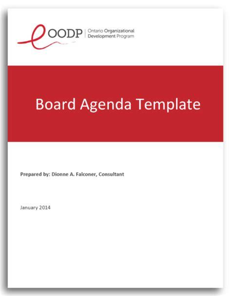 governance meeting agenda template board agenda template the ontario organizational