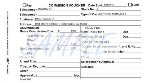 commission form sales voucher and commission form sales