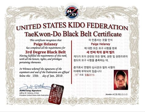 taekwondo black belt certificate template pictures to pin