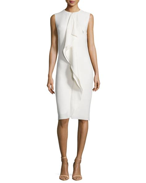 Sleeveless Ruffle Sheath Dress ralph collection sleeveless ruffle front sheath