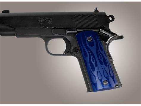 hogue series grip 1911 officer flames aluminum blue