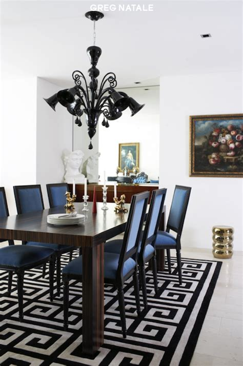 rug in dining room black and white greek key rug contemporary dining room