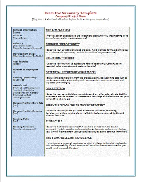 executive summary report template free 6 executive summary template financial statement form