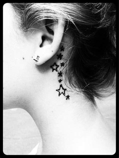 star tattoo behind left ear black stars tattoo on girl left behind the ear