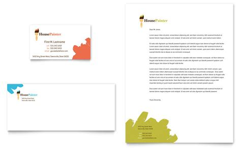 construction business card template word painter painting contractor business card letterhead