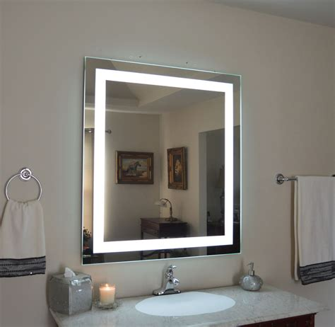 lighted mirrors for bathrooms mam83648 36 quot w x 48 quot t lighted vanity mirror wall mounted