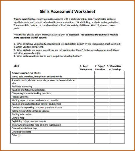 transferable skills assessment worksheet free worksheets
