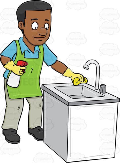clean kitchen cartoon clipart a black man polishing the kitchen sink