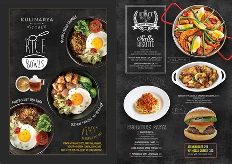 menu design kitchen kulinarya kitchen brand by design co