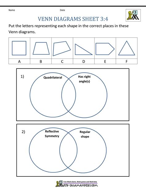 venn diagram grade 2 venn diagram worksheets 3rd grade