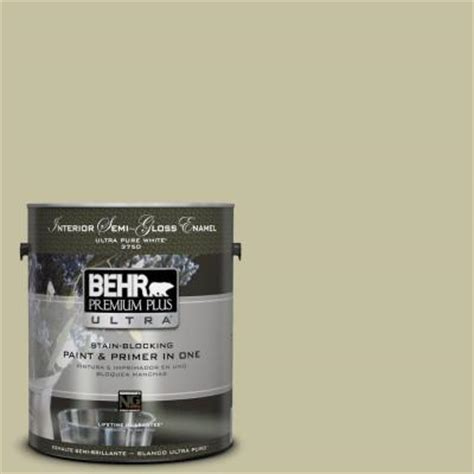 behr premium plus ultra 1 gal s350 3 washed olive semi gloss enamel interior paint 375401
