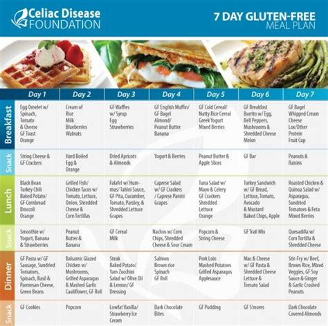 gluten free to go no more dieting weight loss volume 1 books 7 day gluten free meal plan celiac disease foundation