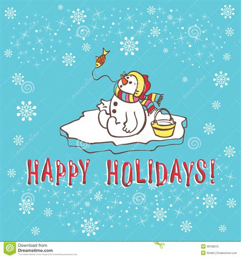Birthday Card Template Winter by Greeting Card Snowman Vector Illustration