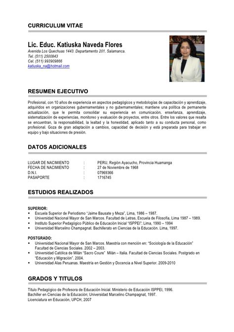 Modelo Curriculum Vitae Secundario Completo Modelo De Curriculum Vitae Docente Modelo De Curriculum Vitae