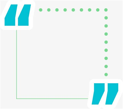 quotation marks layout blue and green quotation marks text box dotted line