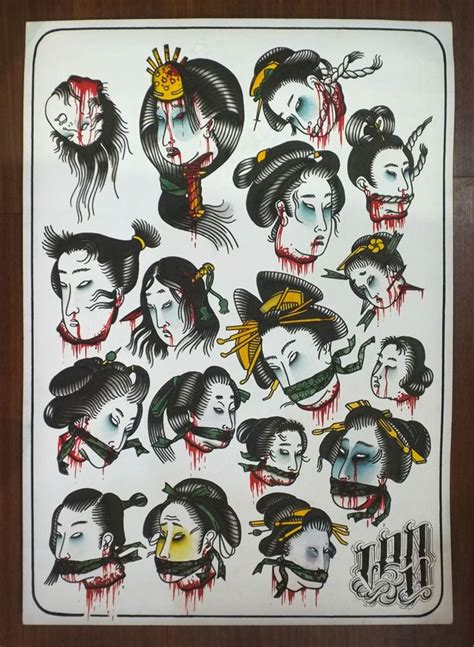 yakuza tattoo flash photo samurai behead gueixa behead pinterest