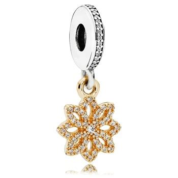Floral Dangle In 14k With Silver And Clear Cubic Zirconia P 278 pandora sterling silver 14kt gold charms pancharmbracelets