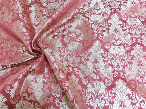 Silk Damask Upholstery Fabric by Raspberry Gold Faux Silk Damask Jacquard 56 Quot W Fabric