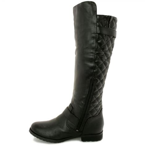 quilted zip buckle knee high boots black