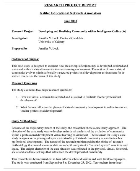 research project report template 10 research report templates free sle exle