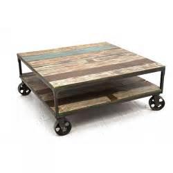 table basse bois m 233 tal sur roulettes 4983
