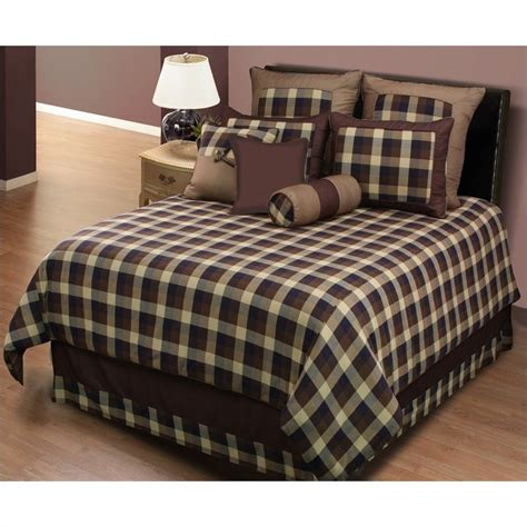 kids riley 3 or 4 piece comforter set in brown plaid 4359xx