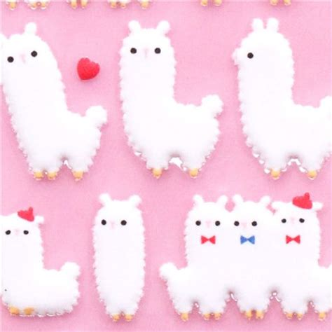 felt llama pattern white alpaca felt sponge stickers by q lia from japan