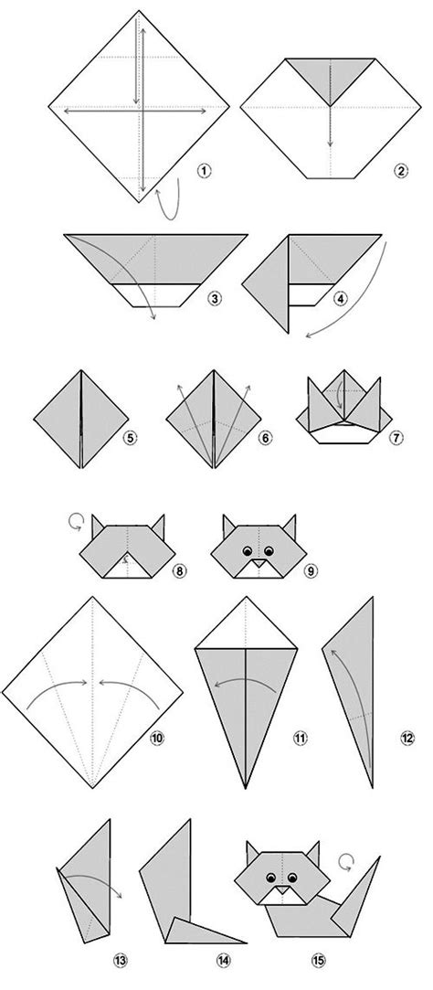 Origami Cat - diagrama easy cat orgami for