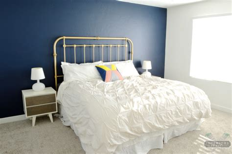 blue white and gold bedroom room reveal interiors by kenz