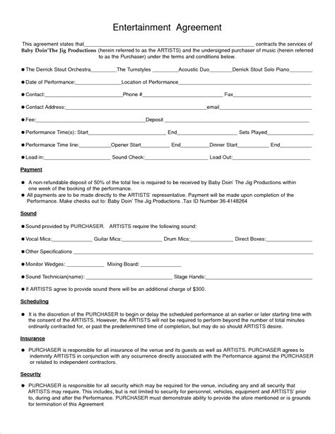 Entertainment Template 8 entertainment contract templatereport template document