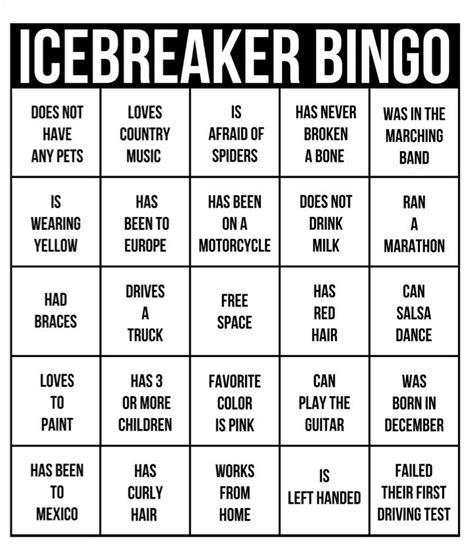 ice breaker bingo template 9 best get to someone bingo images on