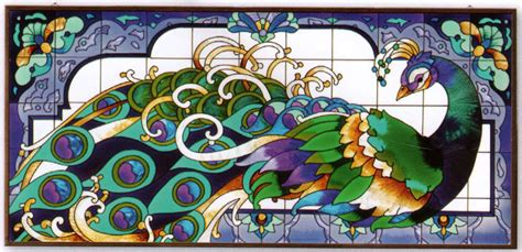 spectacular peacock mural 37x17 scroll border