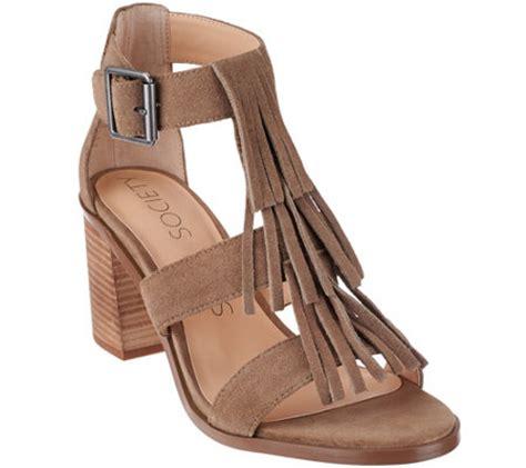 fringe heel sandals sole society suede fringe block heel sandals