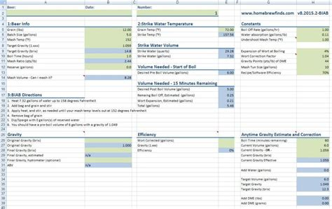 Brewing Spreadsheet by Brewing Journal Template Buff