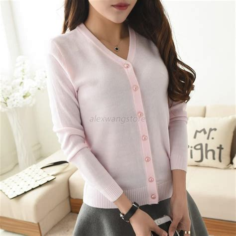 Blouse Sleeve Button Knit sleeve knit cardigan front button