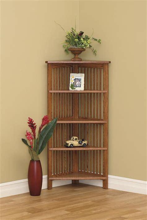 Corner Bookcase Wood Amish Arts And Crafts Open Corner Bookcase