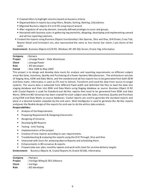 Business Objects Developer Resume by Sap Business Objects Developer Resume Resume Ideas
