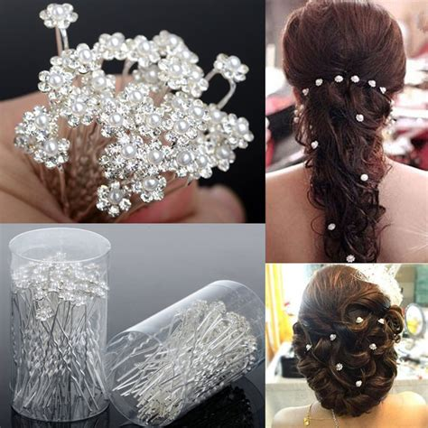 hair accessories for a wedding 40pcs hot wedding hair pins crystal pearl flower bridal