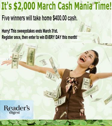 Readers Digest Sweepstakes Winners - reader s digest win 1 of 5 prizes of 400 00 by march 31 giveawayus com