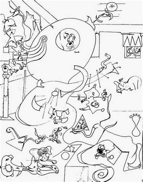 Pintores famosos: Miró para niños. Cuadros para colorear