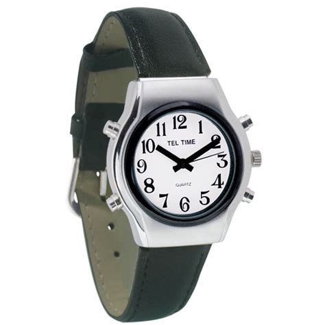 maxiaids tel time mens chrome talking  white face leather band